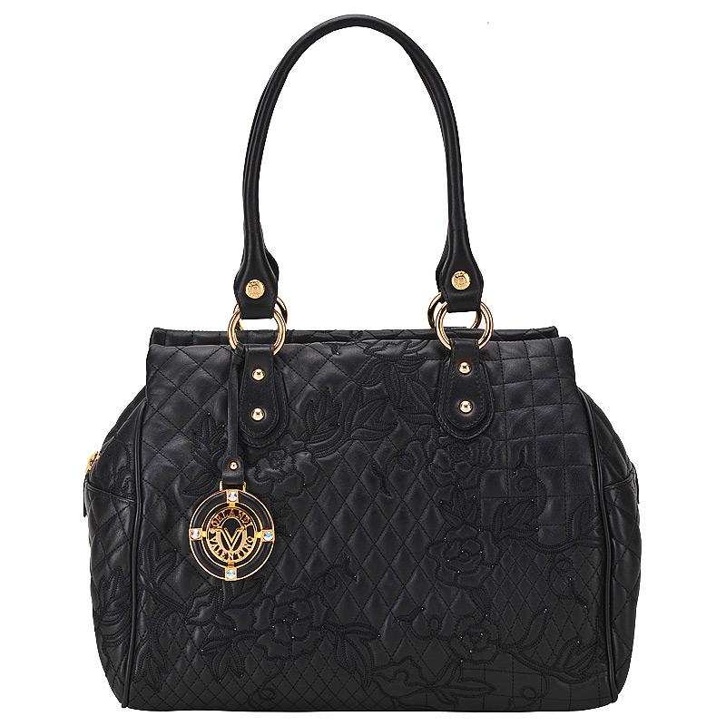 Женская сумка, стеганная, черная, Valentino Orlandi, Италия.