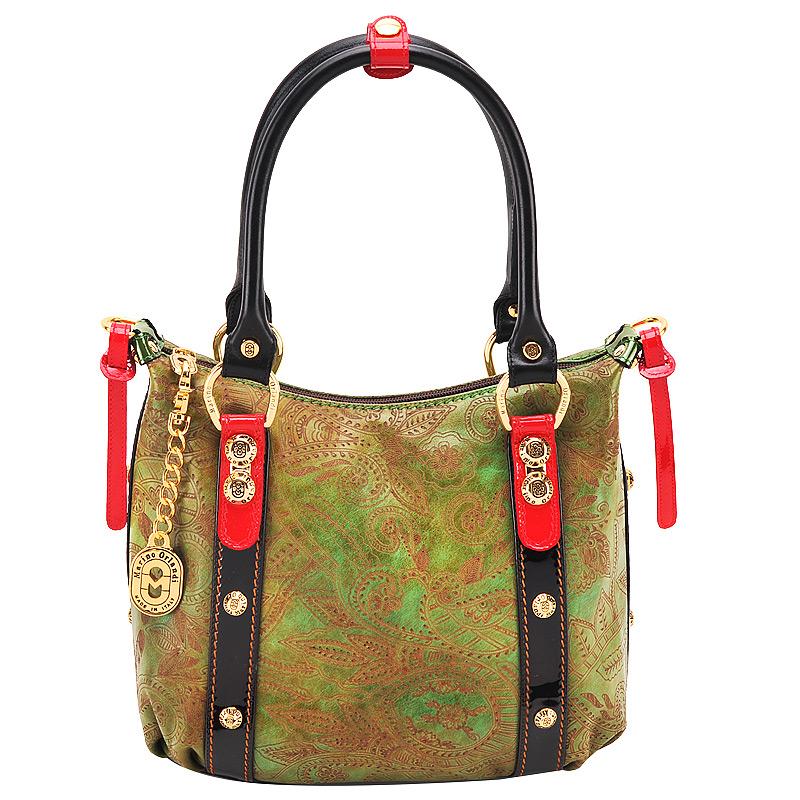 Женская сумка, тиснение, лак, зеленая, Marino Orlandi, Италия.