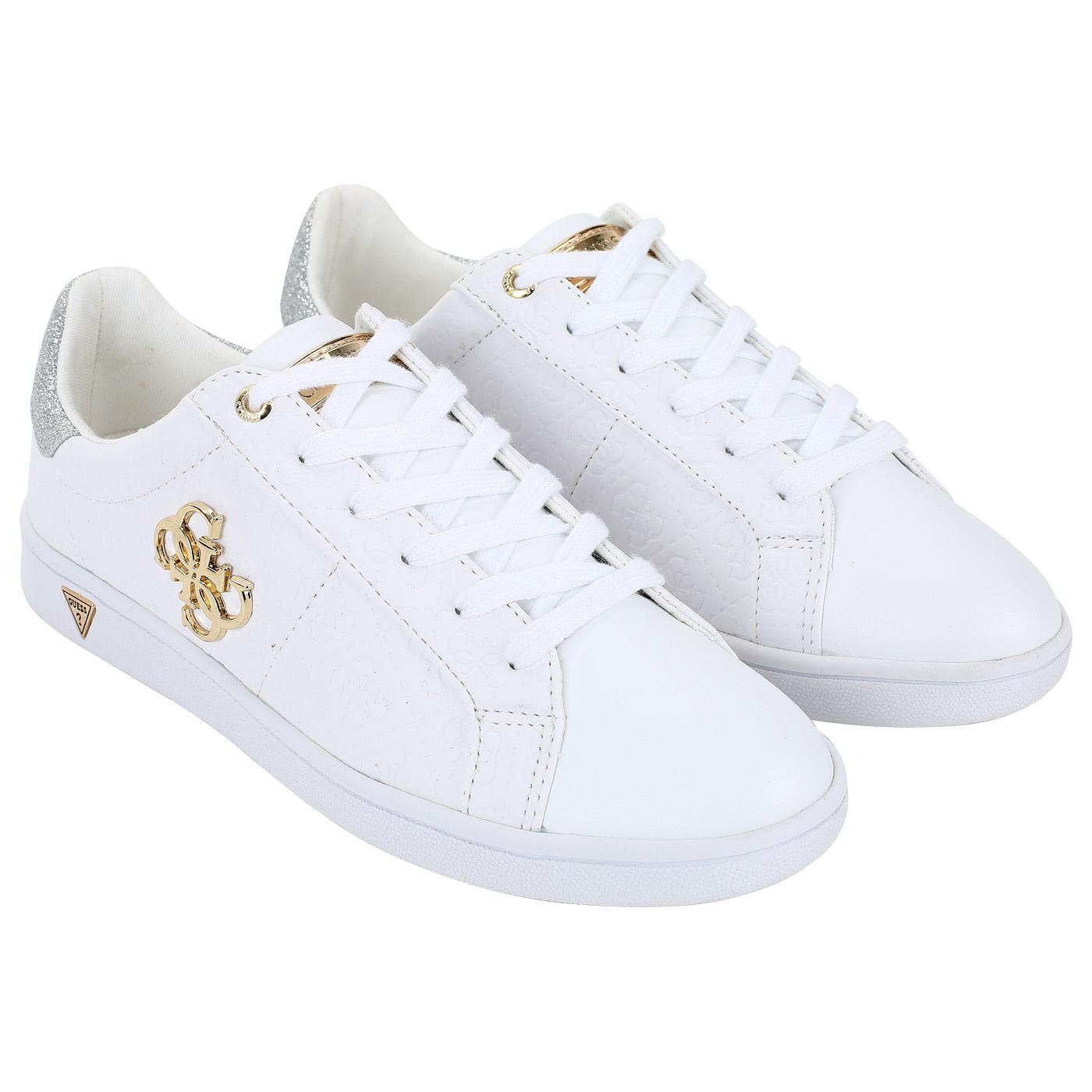 Женские кеды белого цвета с логотипом бренда Guess Baysic2 FLBYS1 ... 8037ed6e4c5