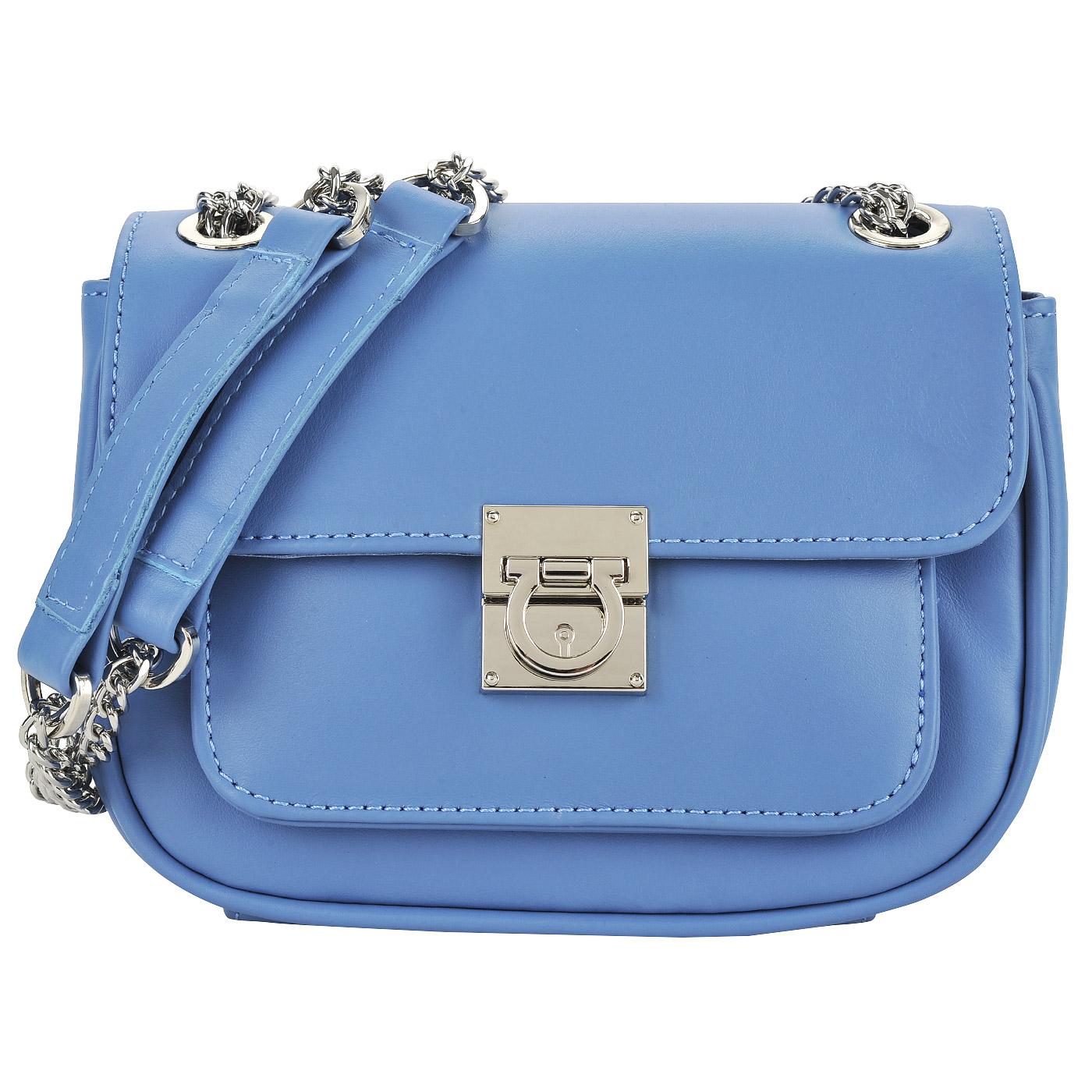 8a11f339eb6d Маленькая кожаная сумка голубого цвета через плечо Dispacci 0817 ...