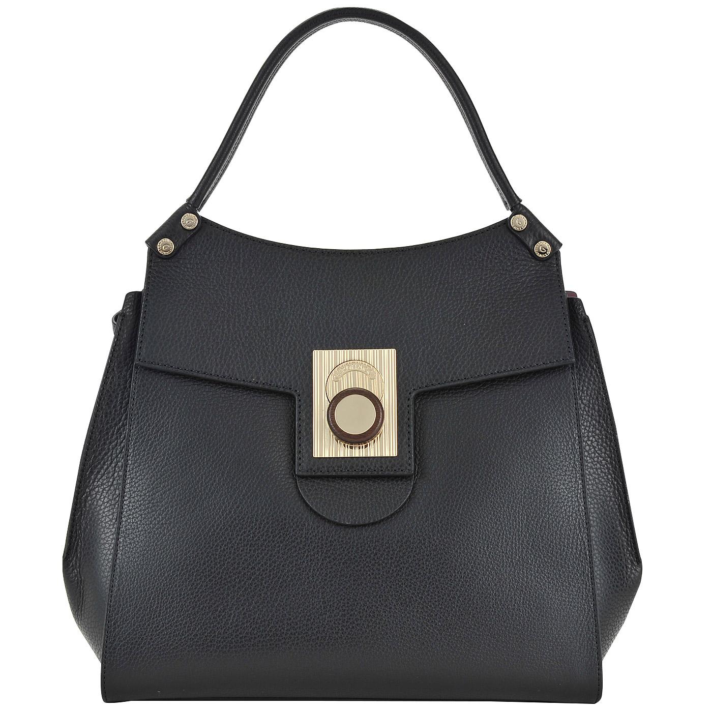 ab10cf2f9a43 Черная кожаная сумка с откидным клапаном Gironacci 1371 nero bordo ...