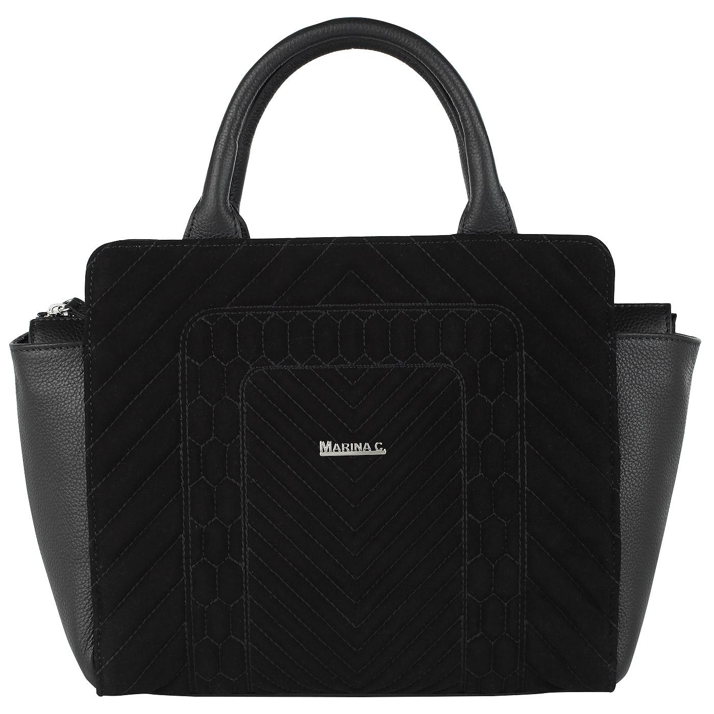 03b16833a94a ... Вместительная стеганая сумка из натуральной кожи и замши Marina  Creazioni ...