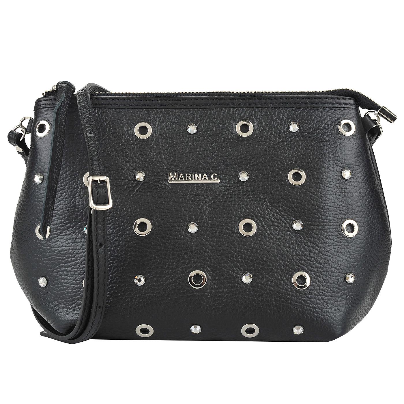 65c398869725 ... Женская кожаная сумка с клепками и стразами Marina Creazioni ...