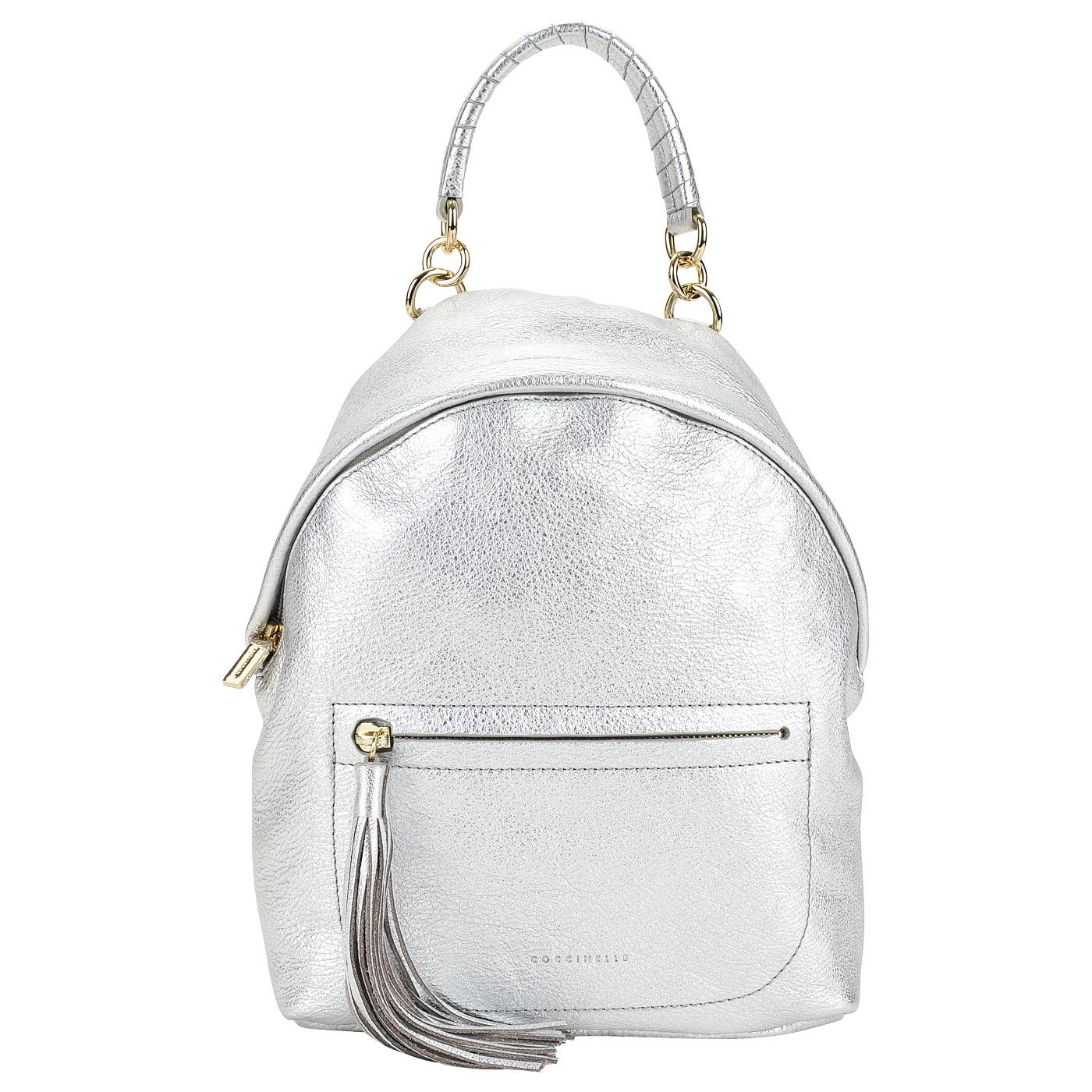 693aaa9e3f9e Серебристый кожаный рюкзак с одним отделом Coccinelle Leonie AN0 54 ...