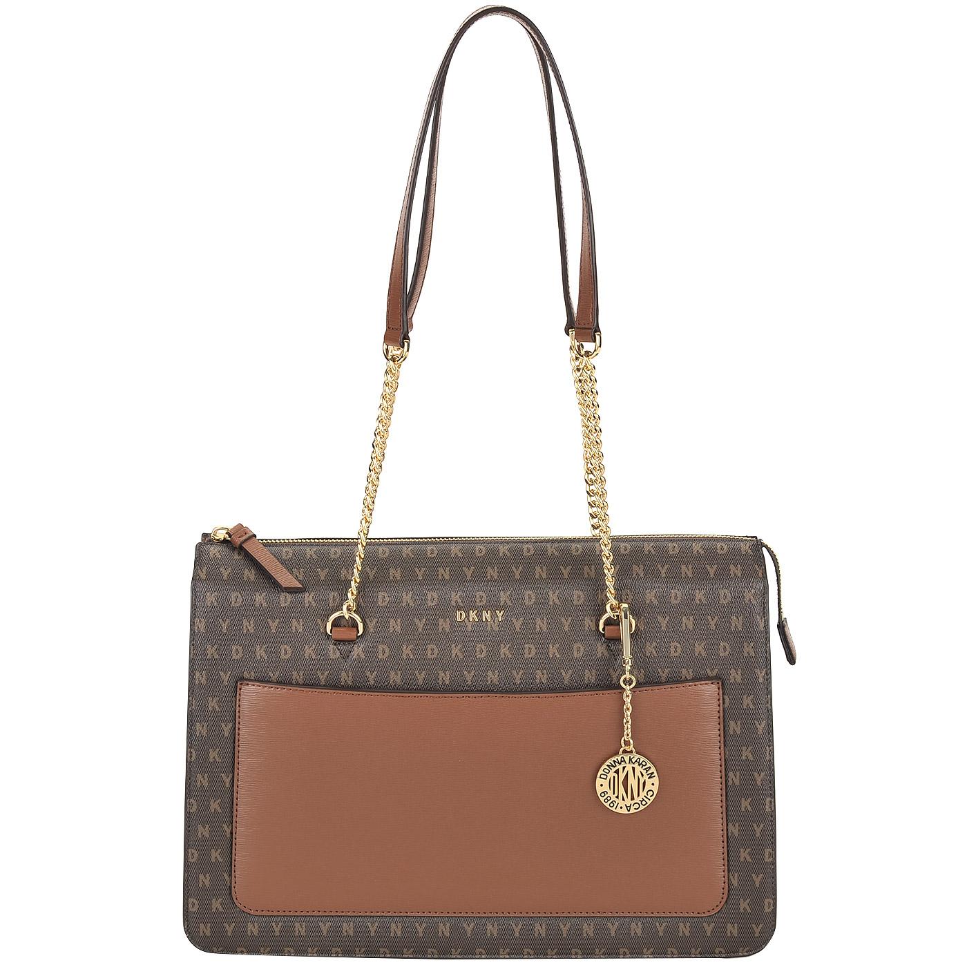 1b21cfcdbfef Вместительная женская сумка с длинными ручками DKNY Coated Logo ...
