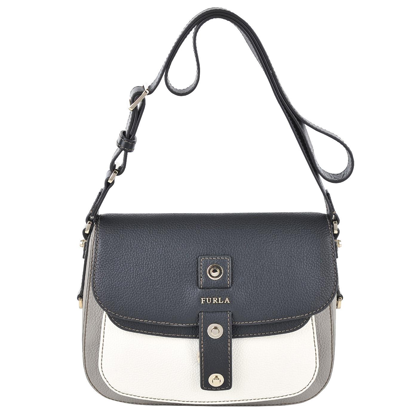 de3143144077 Женская кожаная сумка через плечо Furla Emma BJP1_sabbia b+onyx+ ...