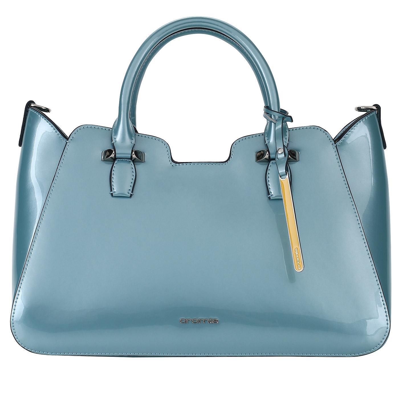 598b3db29e4f Голубая женская сумка из лакированной кожи Cromia Perlissima ...