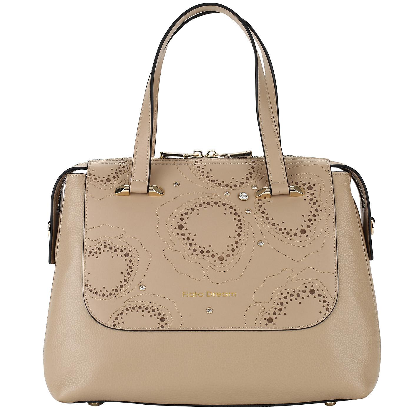 fb30cd37eafd Бежевая женская сумка из натуральной кожи Fiato Dream 1123 FD ...