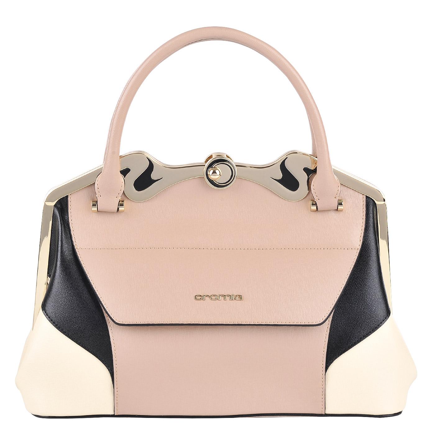 49cfa41ae730 Женская кожаная сумка Cromia Stella 1403206_sabbia/nero/beige ...