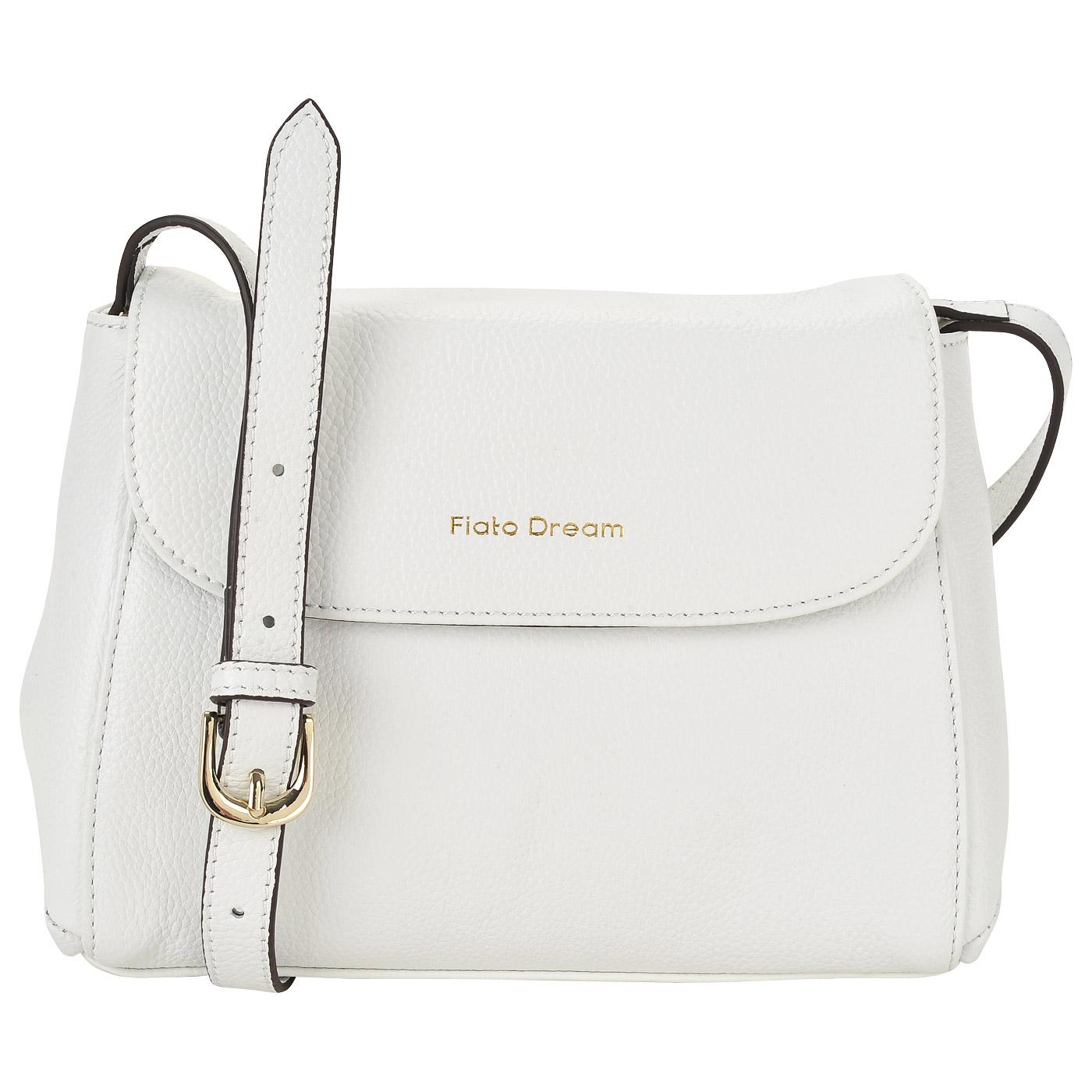 262a9e695b89 Белая кожаная сумка с откидным клапаном Fiato Dream 2039 FD ...