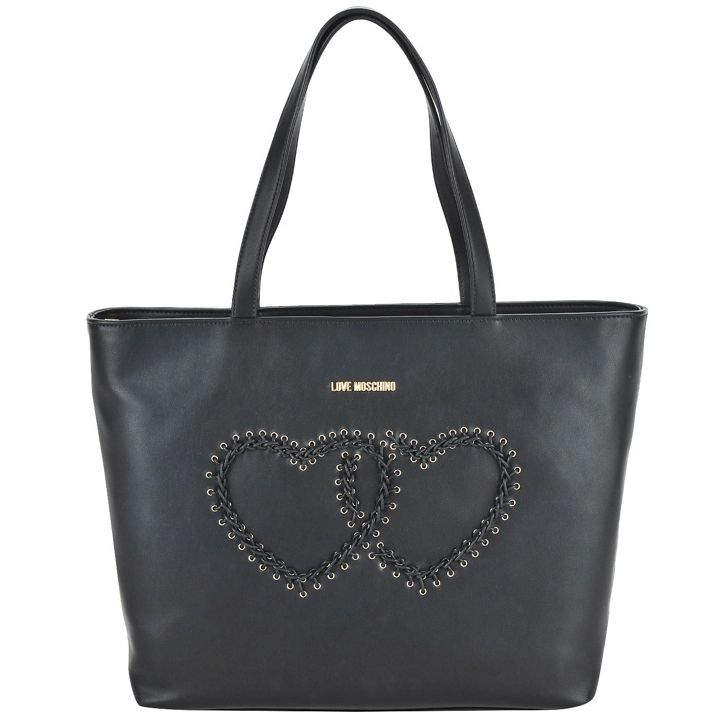 899912890491 Вместительная женская сумка черного цвета Love Moschino Stitching bag