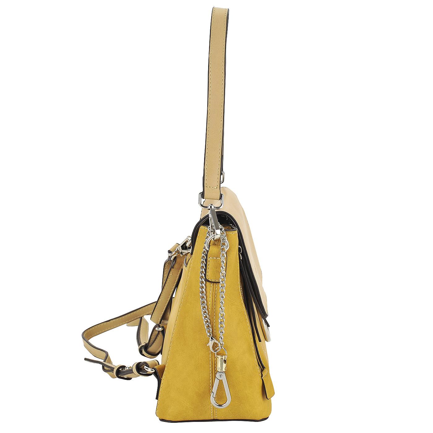 6d247d617b30 ... Практичная женская сумка-рюкзак из экокожи желтого цвета Dispacci ...