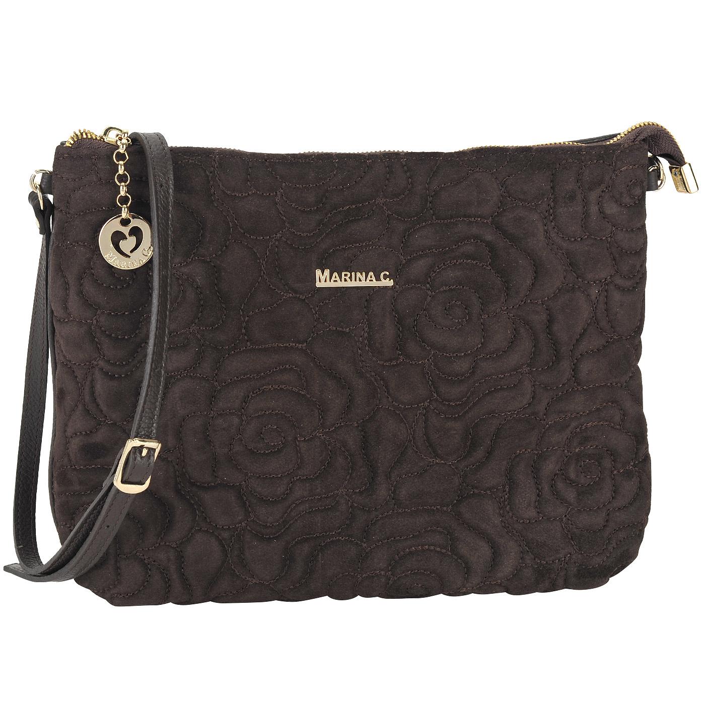 Маленькая стеганая сумка из натуральной кожи и замши Marina Creazioni  3936 t.moro - 2000557798670 коричневый натуральная кожа 26 x 22 x 6 Цена  4990 руб. ... 0659fe14efb