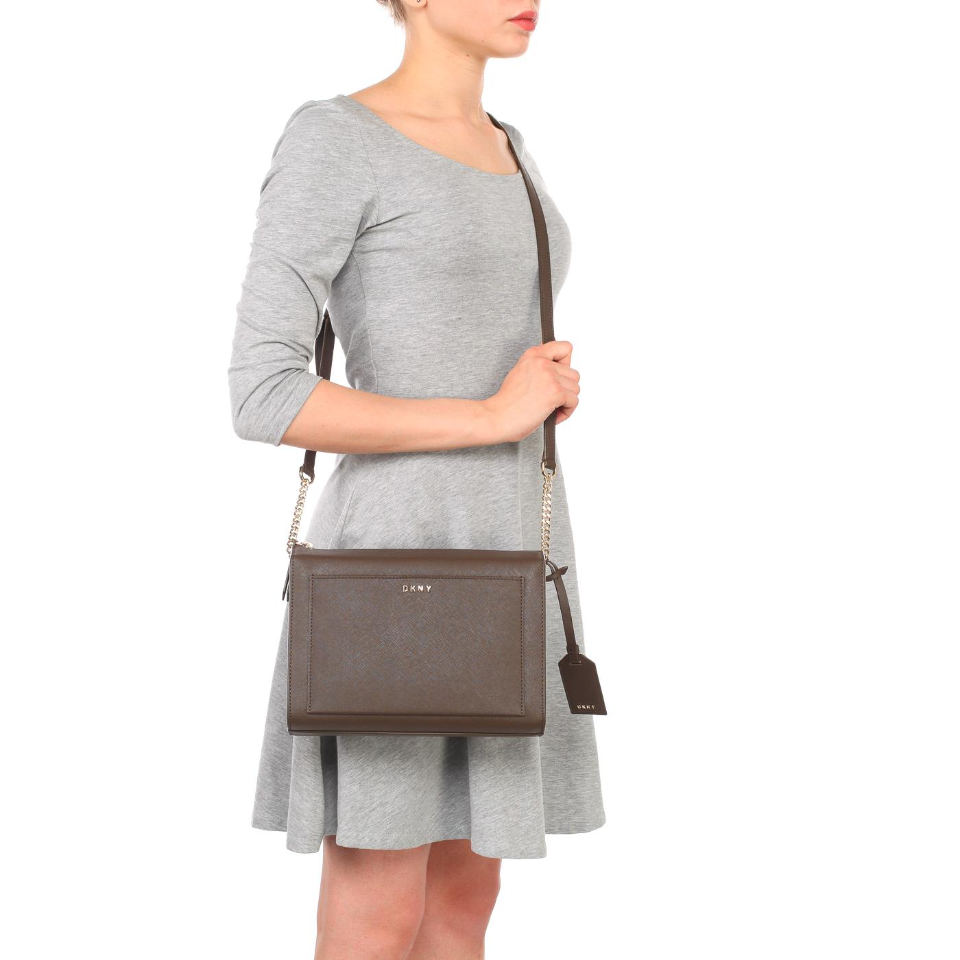 51e2182b25ad ... Коричневая женская сумка из сафьяновой кожи через плечо DKNY Saffiano  ...