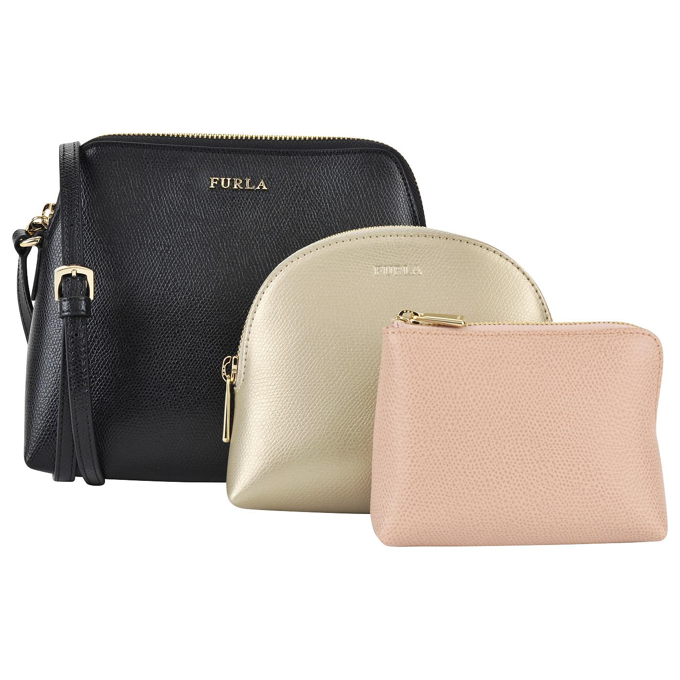 Женская кожаная сумочка через плечо + две косметички Furla