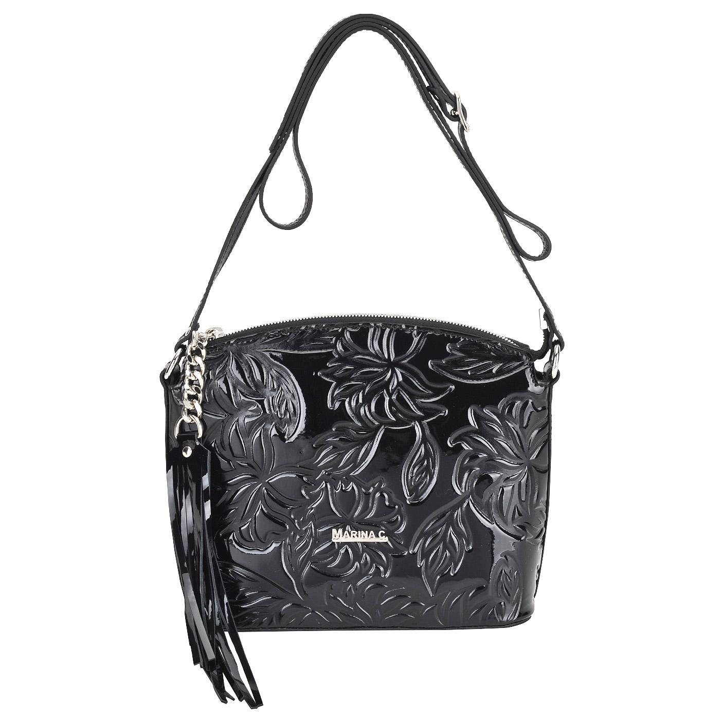 СумкаСумки через плечо<br>Marina Creazioni, сумка жен, н/к, лак, тисн, цветы , черн.<br>