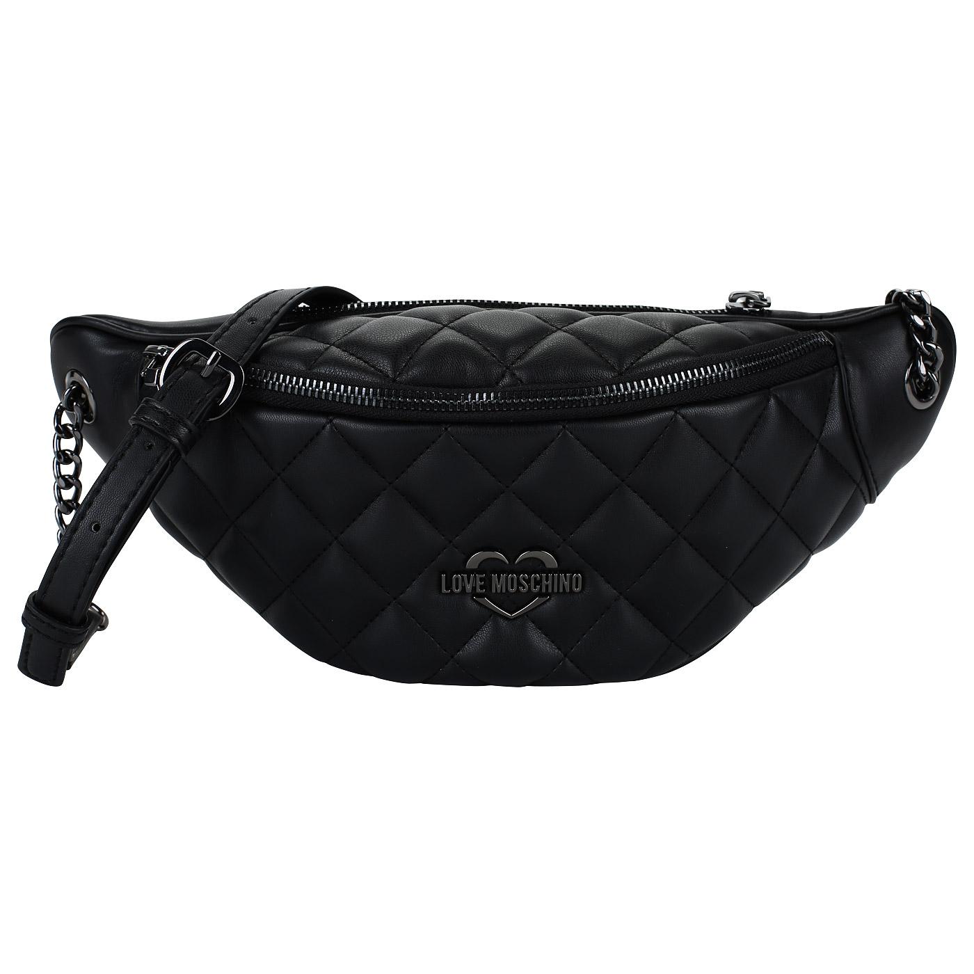 16328ccb933e ... Женская черная поясная сумка Love Moschino Quilted Metallic ...
