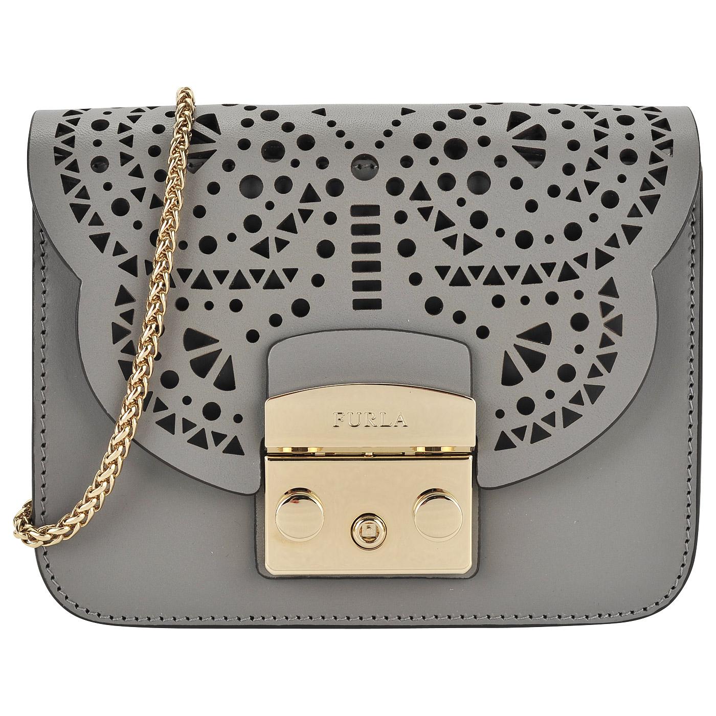 3e1df5f6c669 ... Маленькая кожаная сумка с декоративной перфорацией на откидном клапане  Furla Metropolis ...
