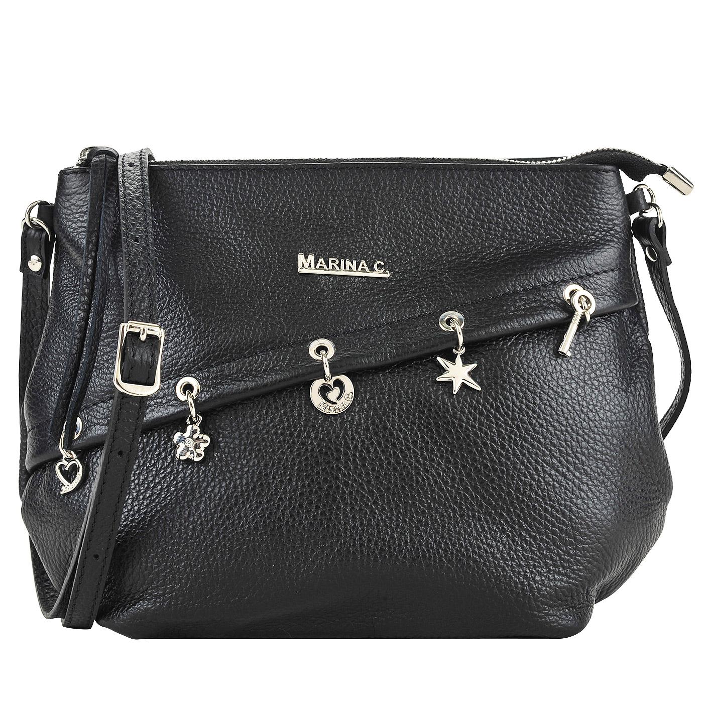 b65e0acf26d7 ... Женская кожаная сумка черного цвета через плечо Marina Creazioni ...