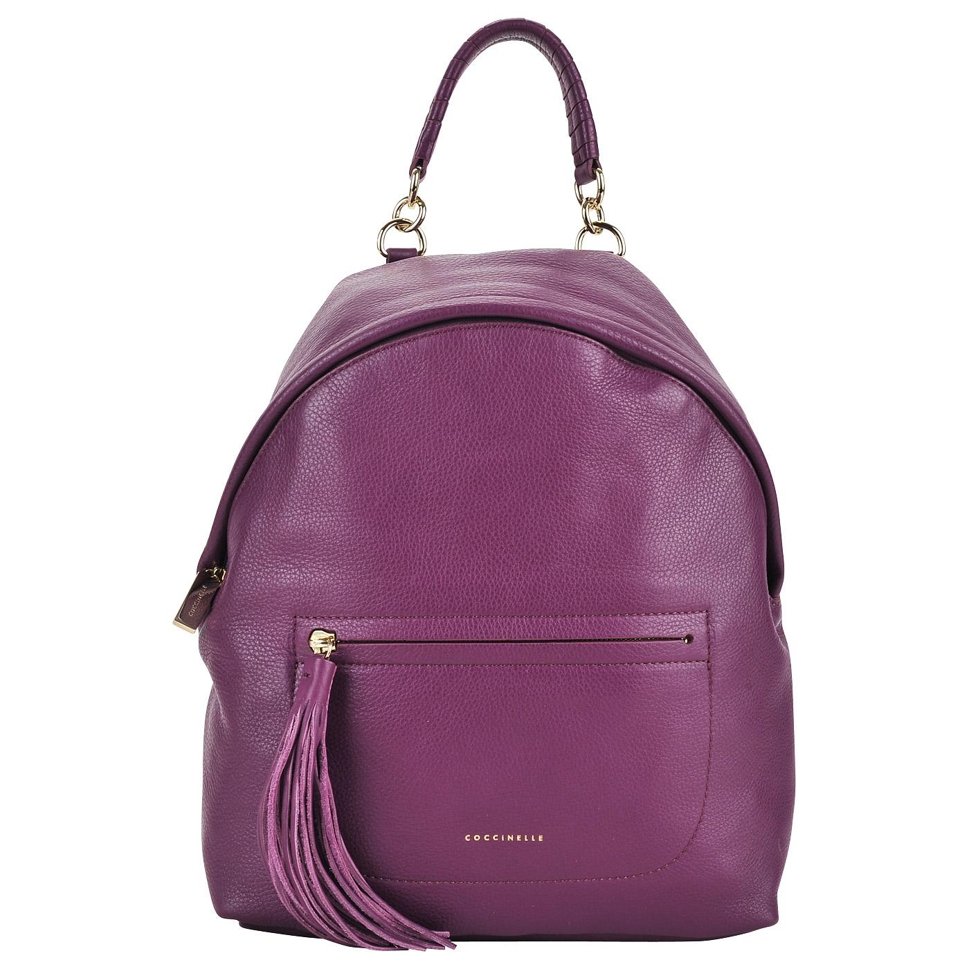 Женский фиолетовый рюкзак из натуральной кожи Coccinelle Leonie AN0 ... b04ee898a6b