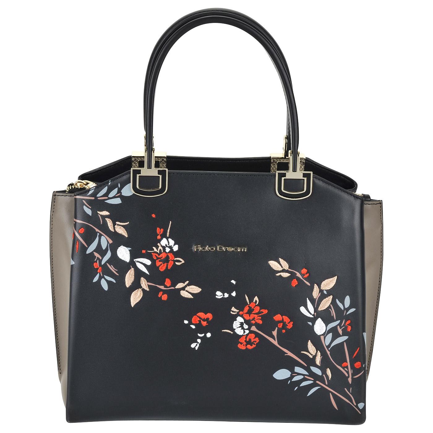 c58f8610b8c9 Женская кожаная сумка с цветной вышивкой Fiato Dream 6014 FD ...