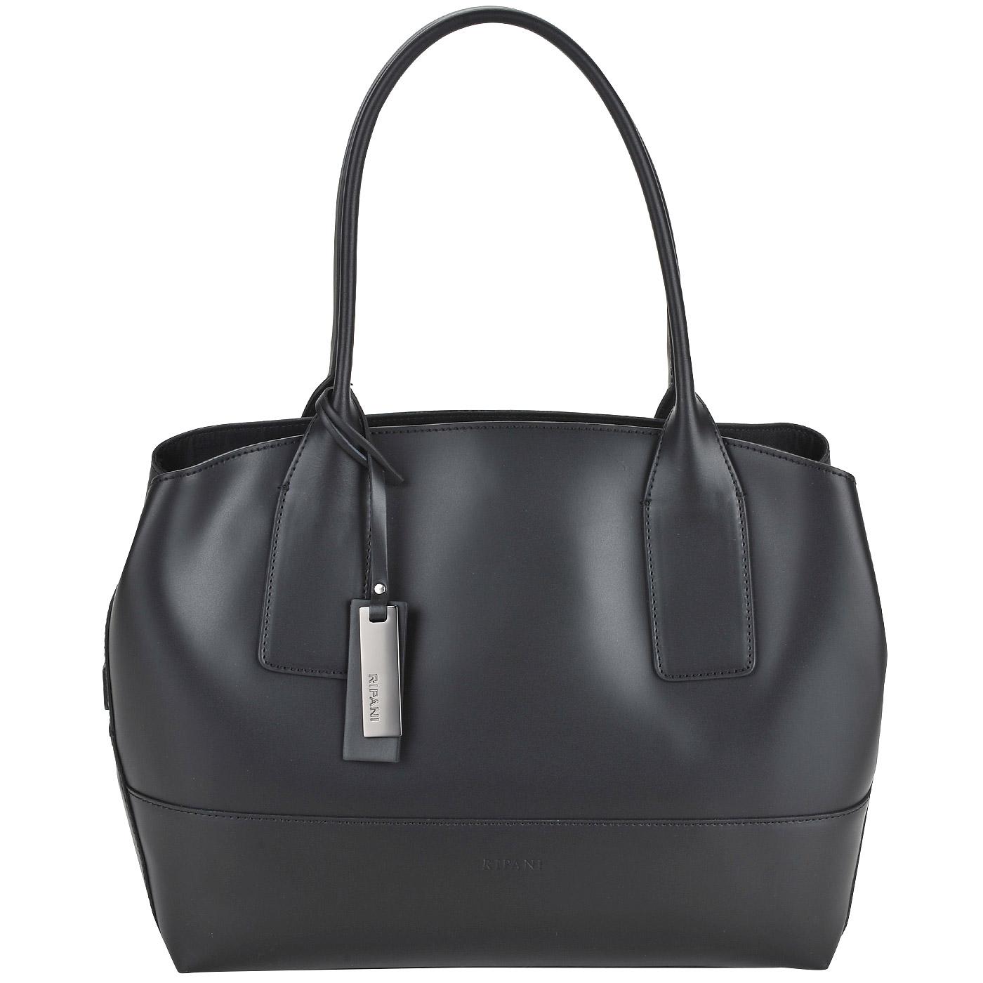 3bcc5a307517 Женская сумка из черной матовой кожи с длинными ручками Ripani Curcuma ...