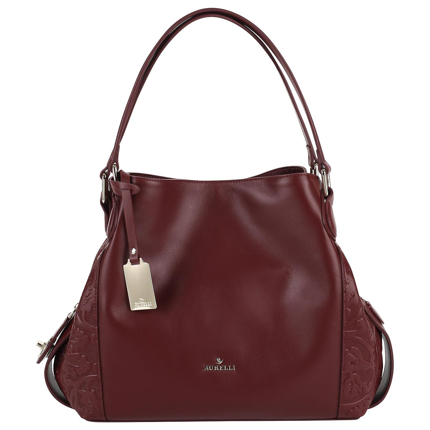 Бордовая сумка из мягкой натуральной кожи