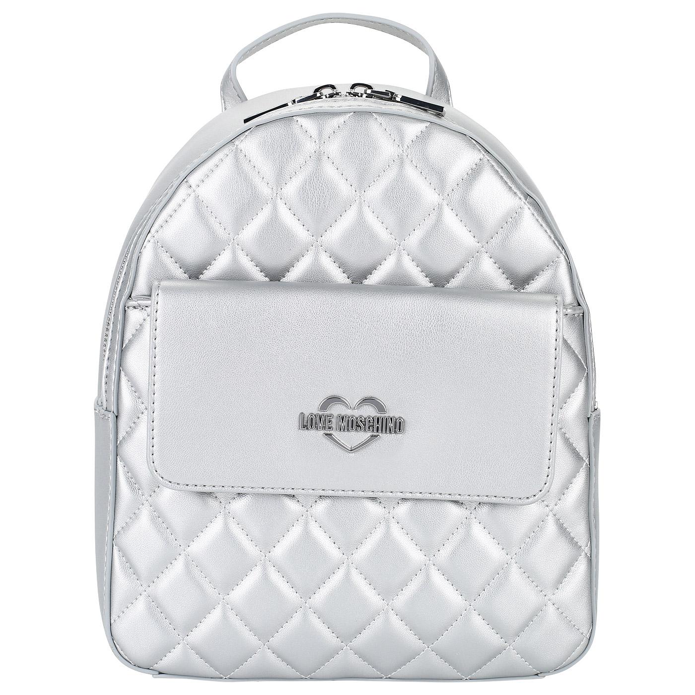 Женский рюкзак с широкими лямками Love Moschino Quilted Metallic ... aa977b284ab