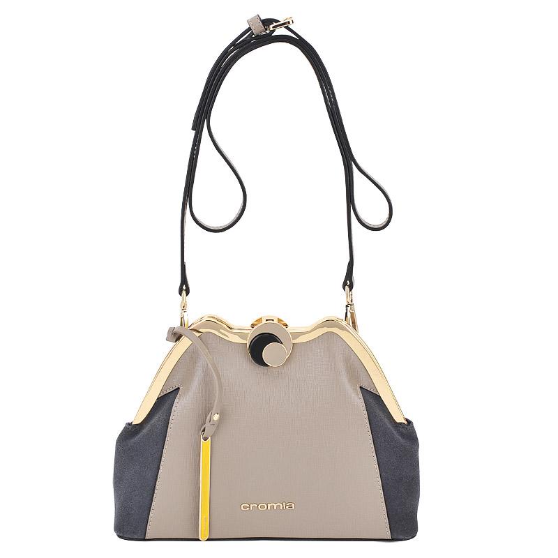 СумкаСумки через плечо<br>Cromia, Iris, сумка жен, н/к, сафьян серо-кор.+замша, сер+брелок<br>