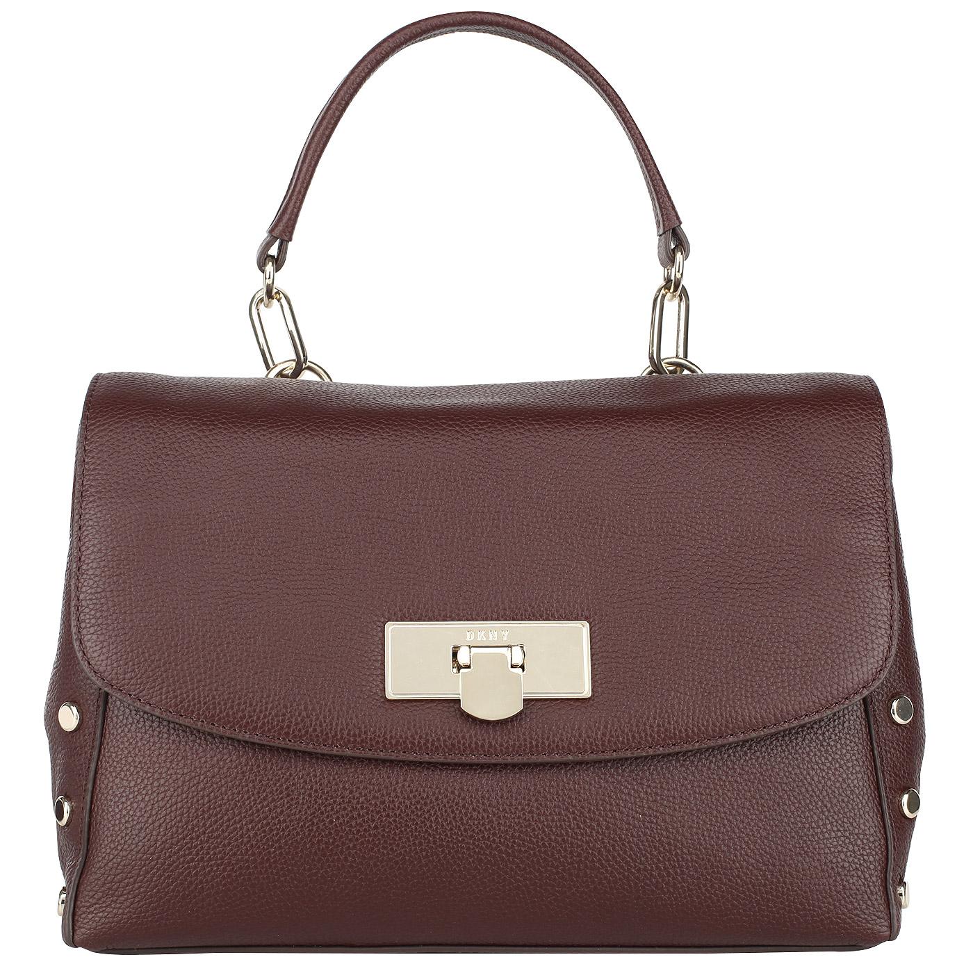 49148601531f Женская кожаная сумка бордового цвета DKNY Chelsea R3121061-636 ...