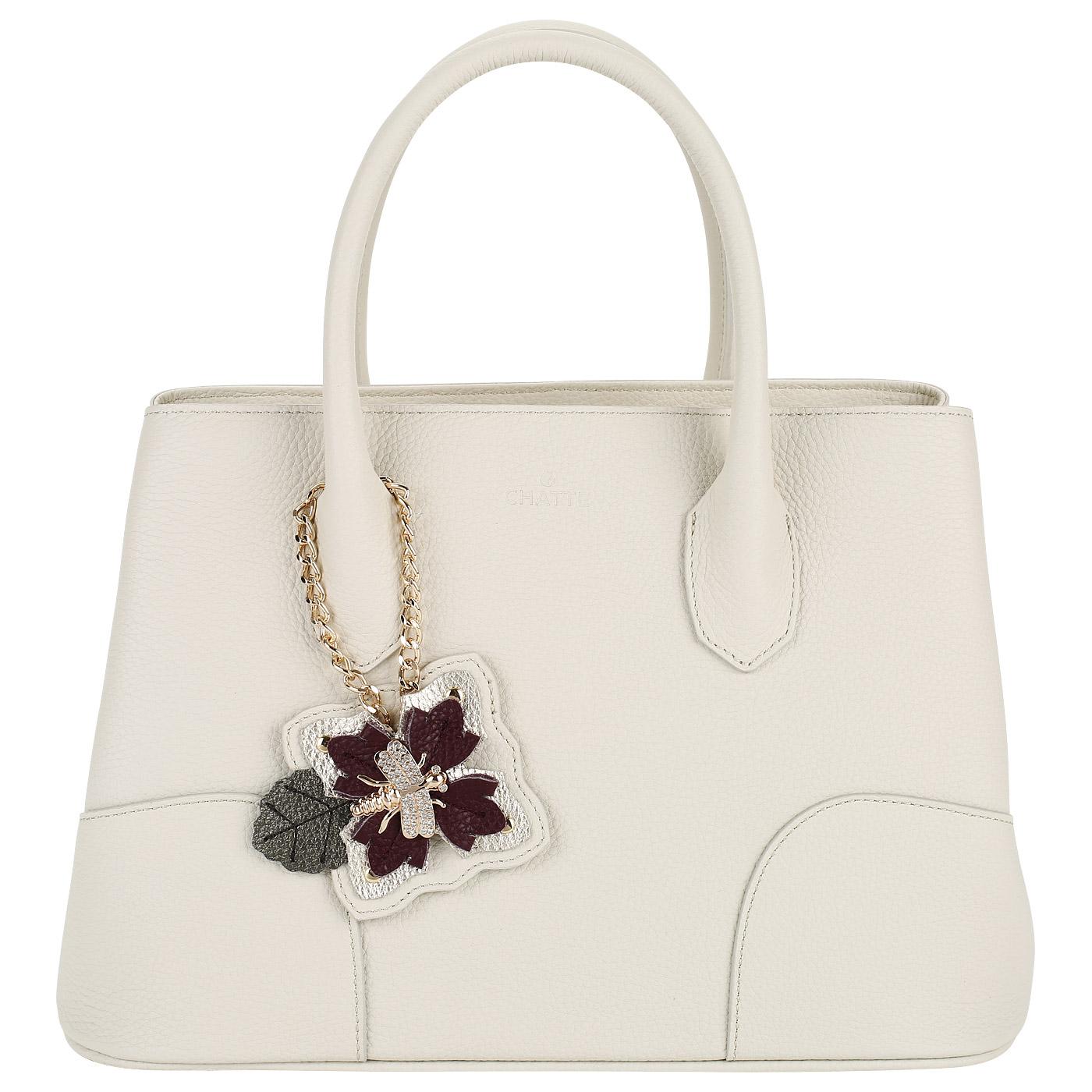 a46623c094d2 Кожаная женская сумка с двумя отделами Chatte DB9276_cream ...