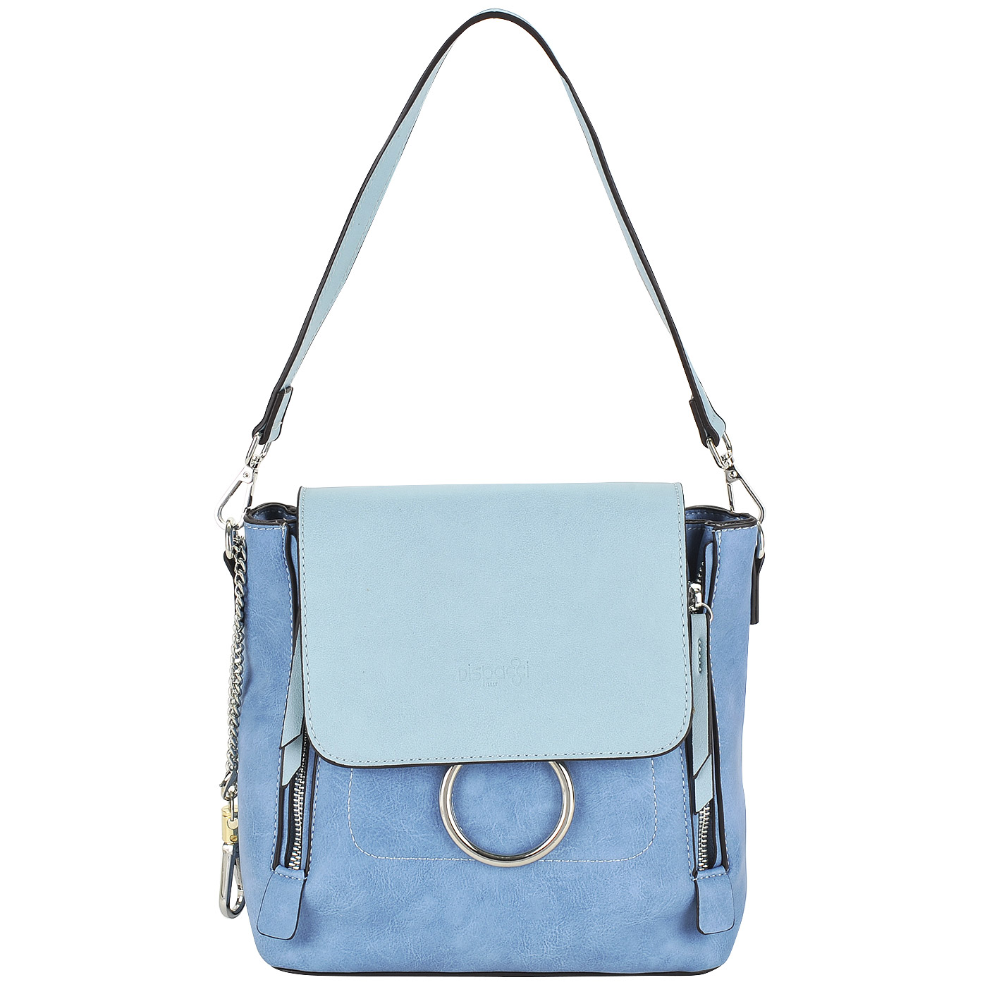 b55a4571f964 ... Практичная женская сумка-рюкзак из экокожи синего цвета Dispacci ...