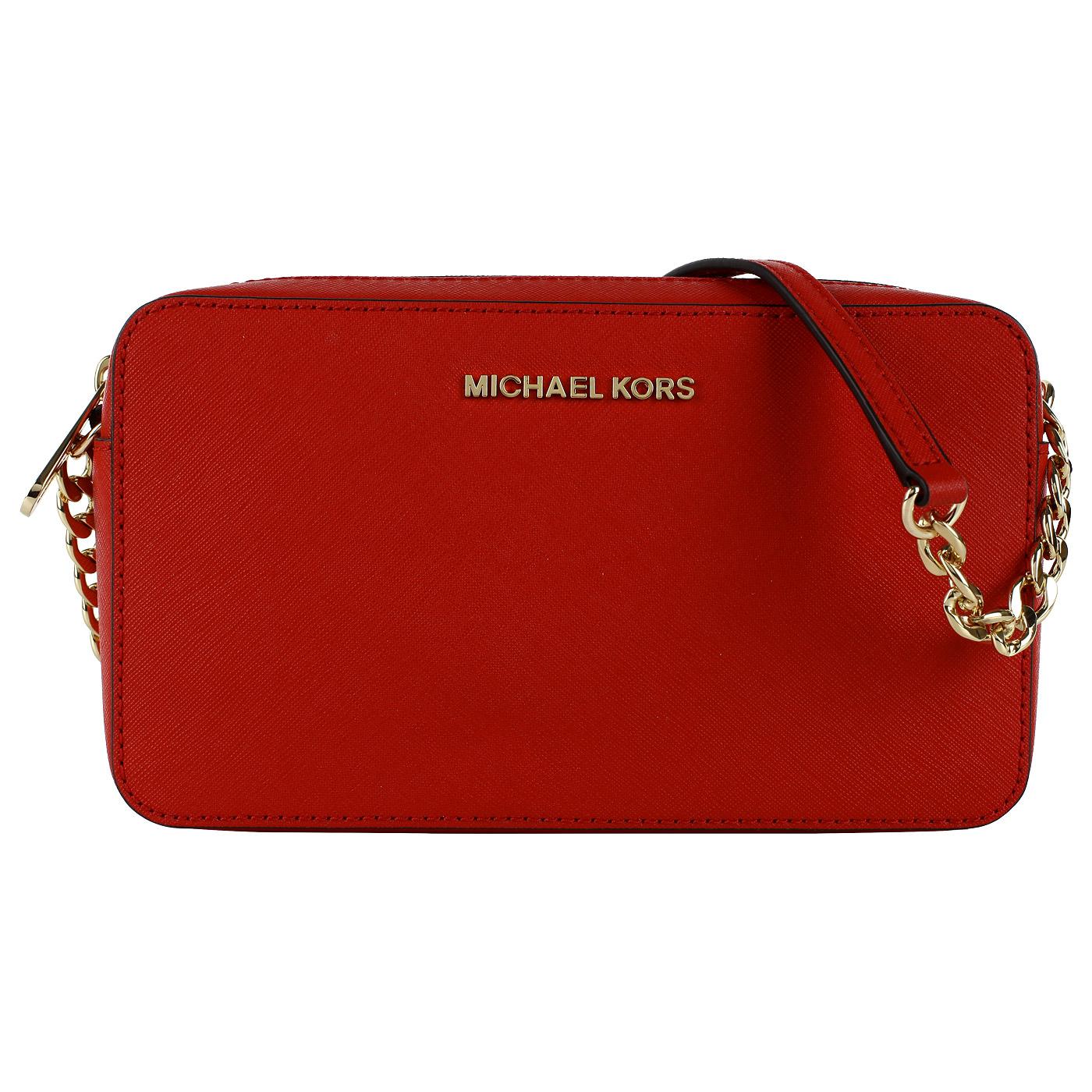 522f904f18f0 ... Маленькая красная сумка кросс-боди из натуральной сафьяновой кожи Michael  Kors Jet set travel ...