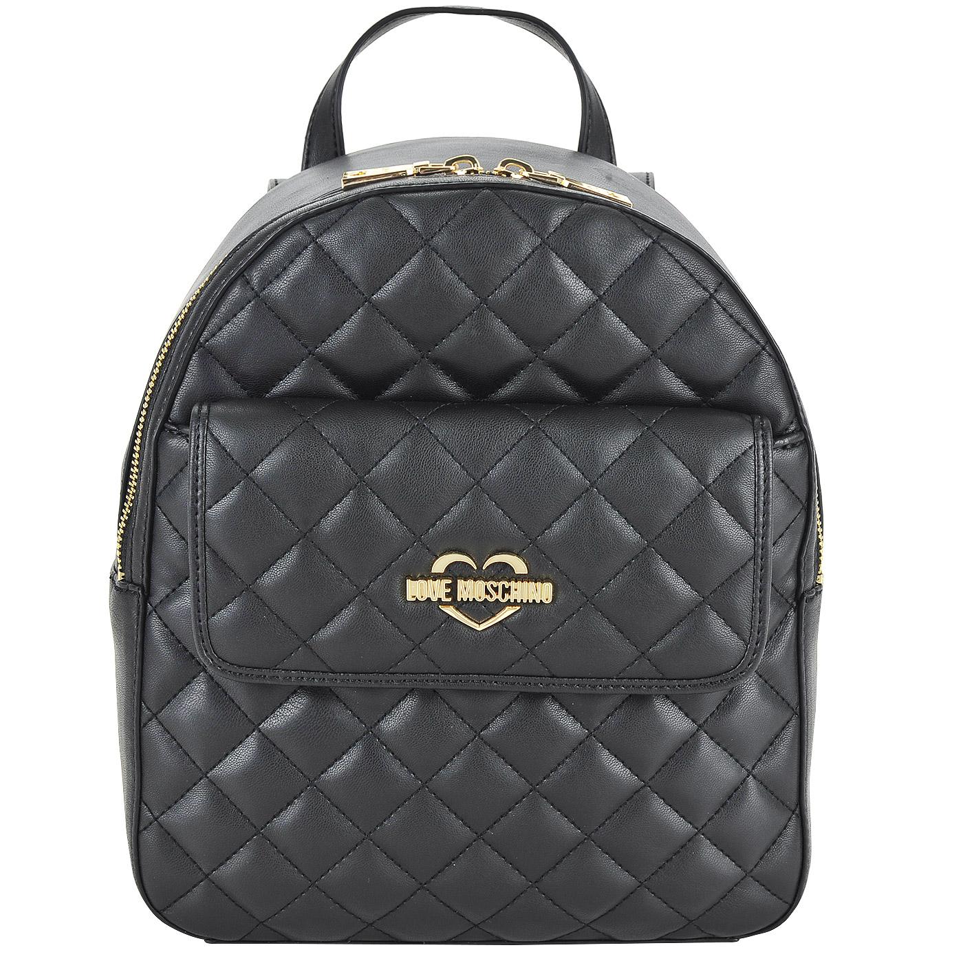 550d041704eb Женский стеганый рюкзак черного цвета Love Moschino Fashion Quilted ...