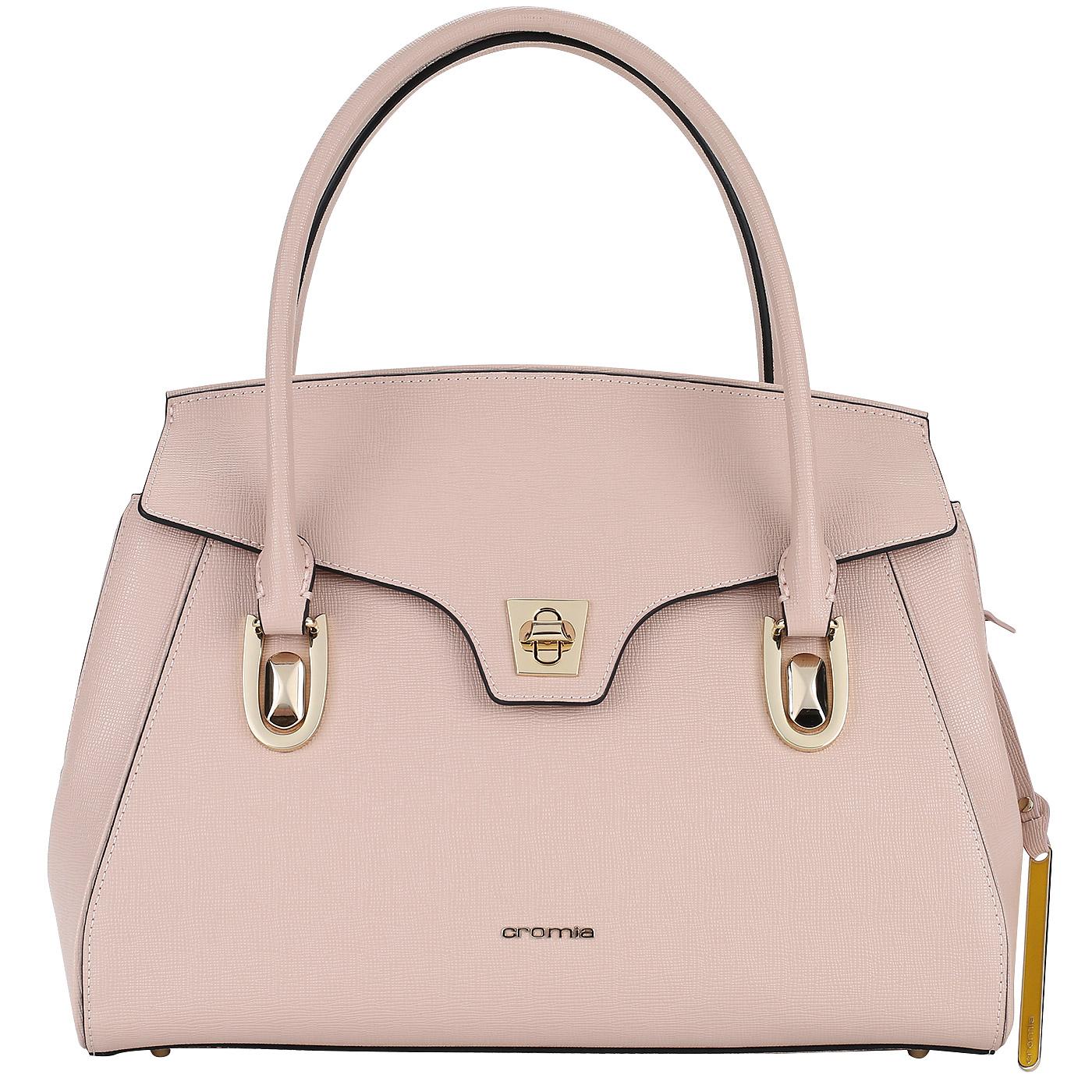 7958131cbcad Розовая сумка из натурального сафьяна с длинными ручками Cromia Mina ...