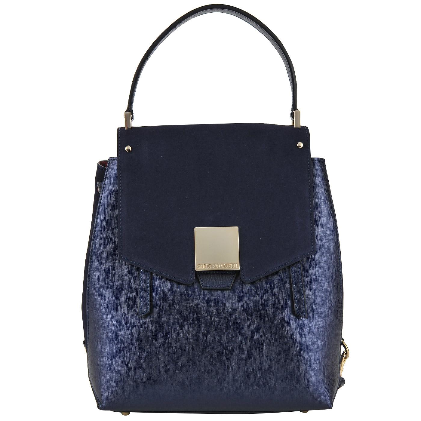 Вместительный женский рюкзак из натуральной сафьяновой кожи и замши Carlo  Salvatelli Saffiano 4e4244c8071