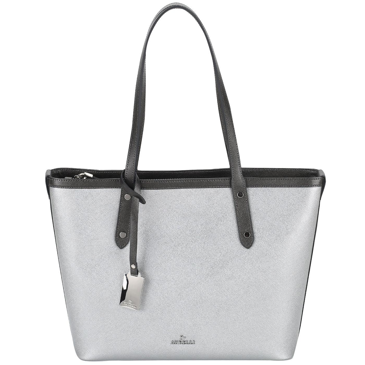 3a333571eed1 Сафьяновая сумка-тоут с длинными ручками Aurelli 19S0106-18S-silver ...