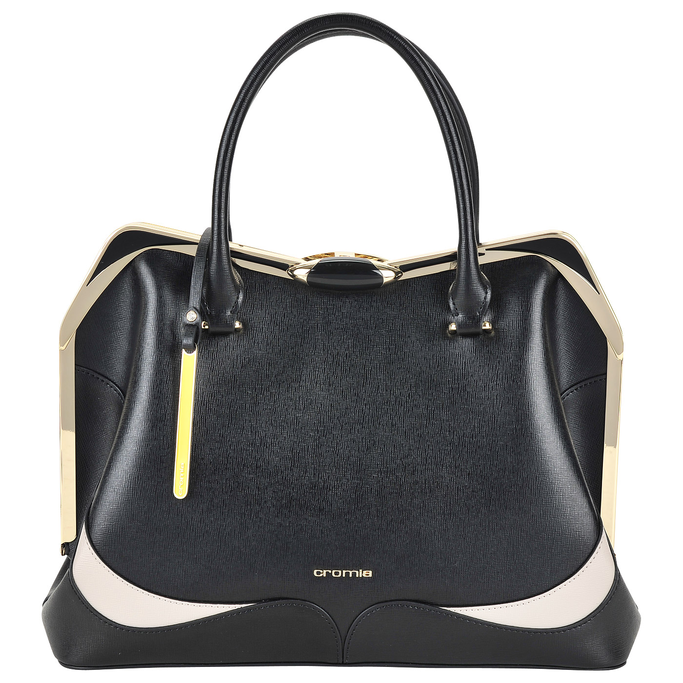 e76ac4cb1771 Вместительная кожаная сумка с рамочным замком Cromia Wave ...