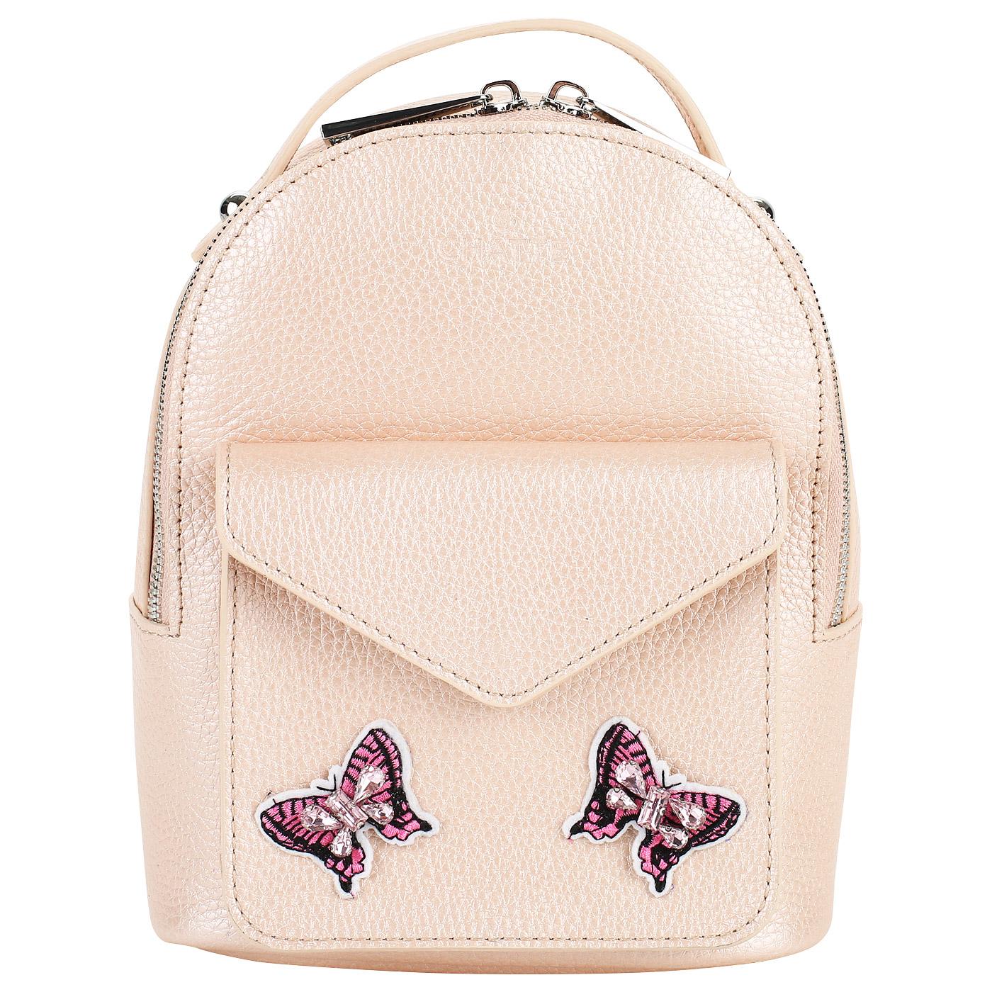 Маленький кожаный рюкзак с аппликацией Chatte Маленький кожаный рюкзак с  аппликацией Chatte ... 7b4e9a45329