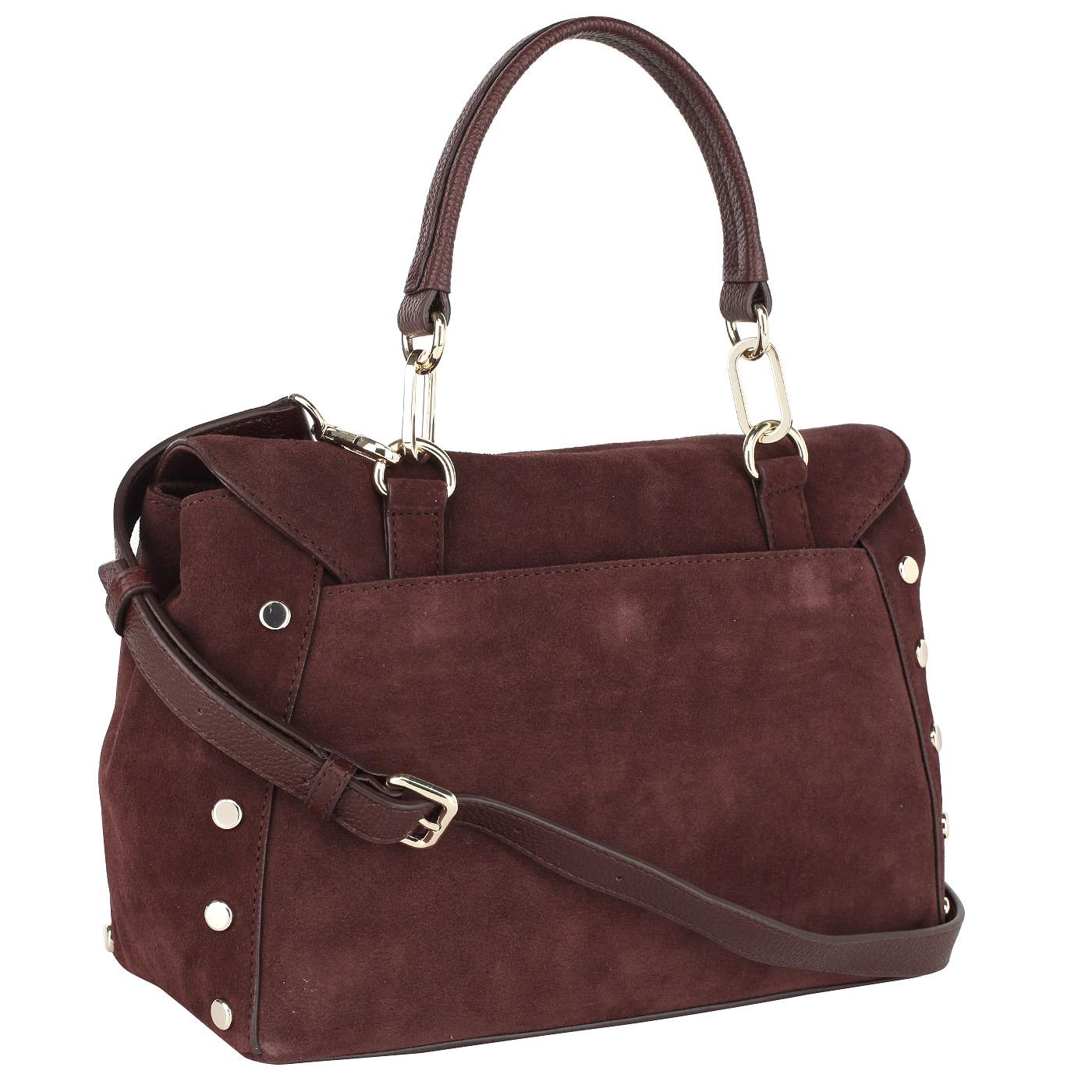 2d72b5f05d09 Бордовая замшевая сумка с откидным клапаном DKNY Suede R3122061-636 ...