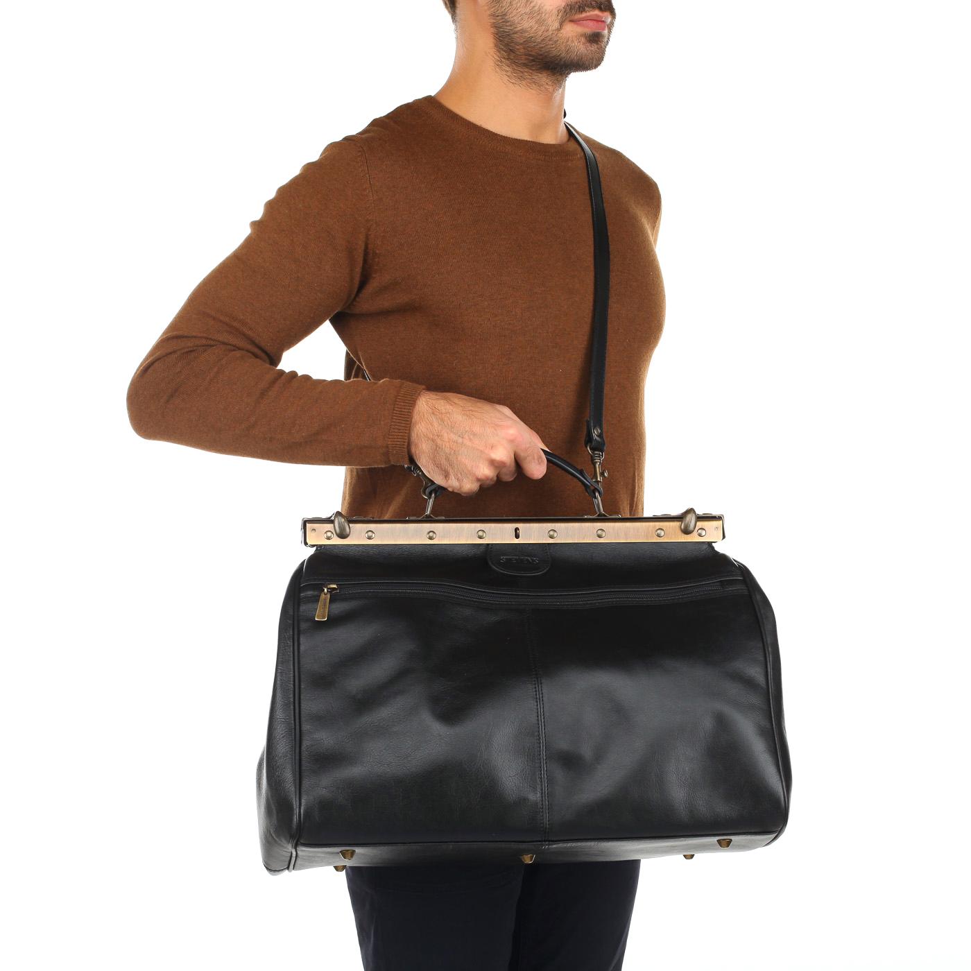 256862dfd5f3 Кожаная винтажная сумка-саквояж Stevens STA-2974/V-nero ...
