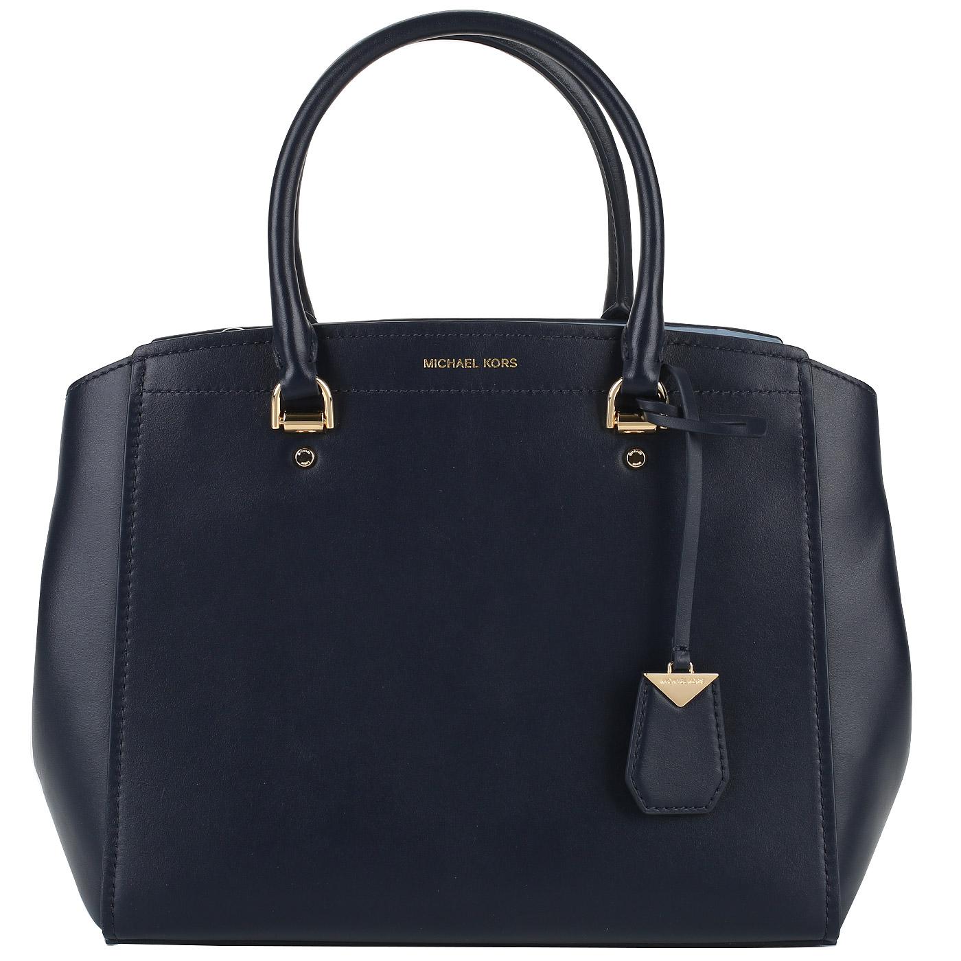 433ba4b1b984 Синяя кожаная сумка Michael Kors Benning Синяя кожаная сумка Michael Kors  Benning ...