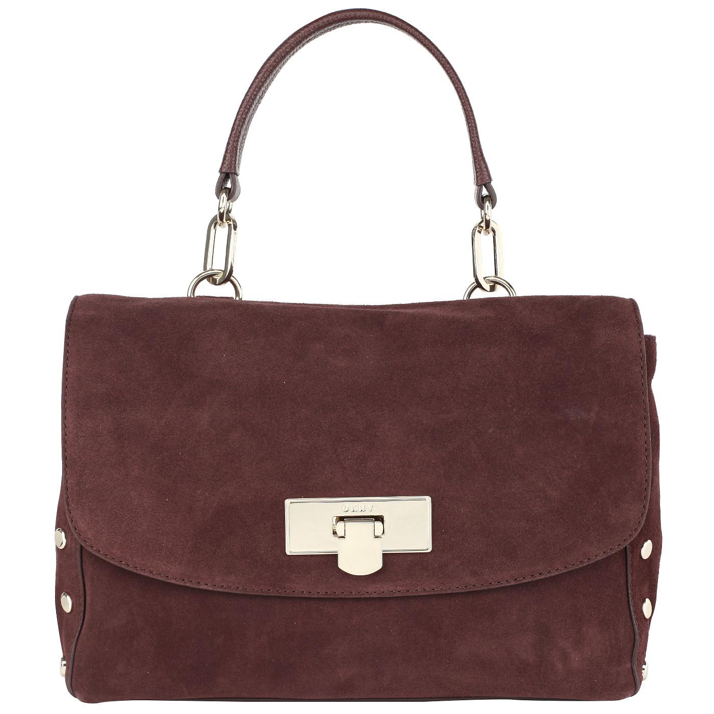c3af4d660d94 Бордовая замшевая сумка с откидным клапаном DKNY Suede R3122061-636 ...