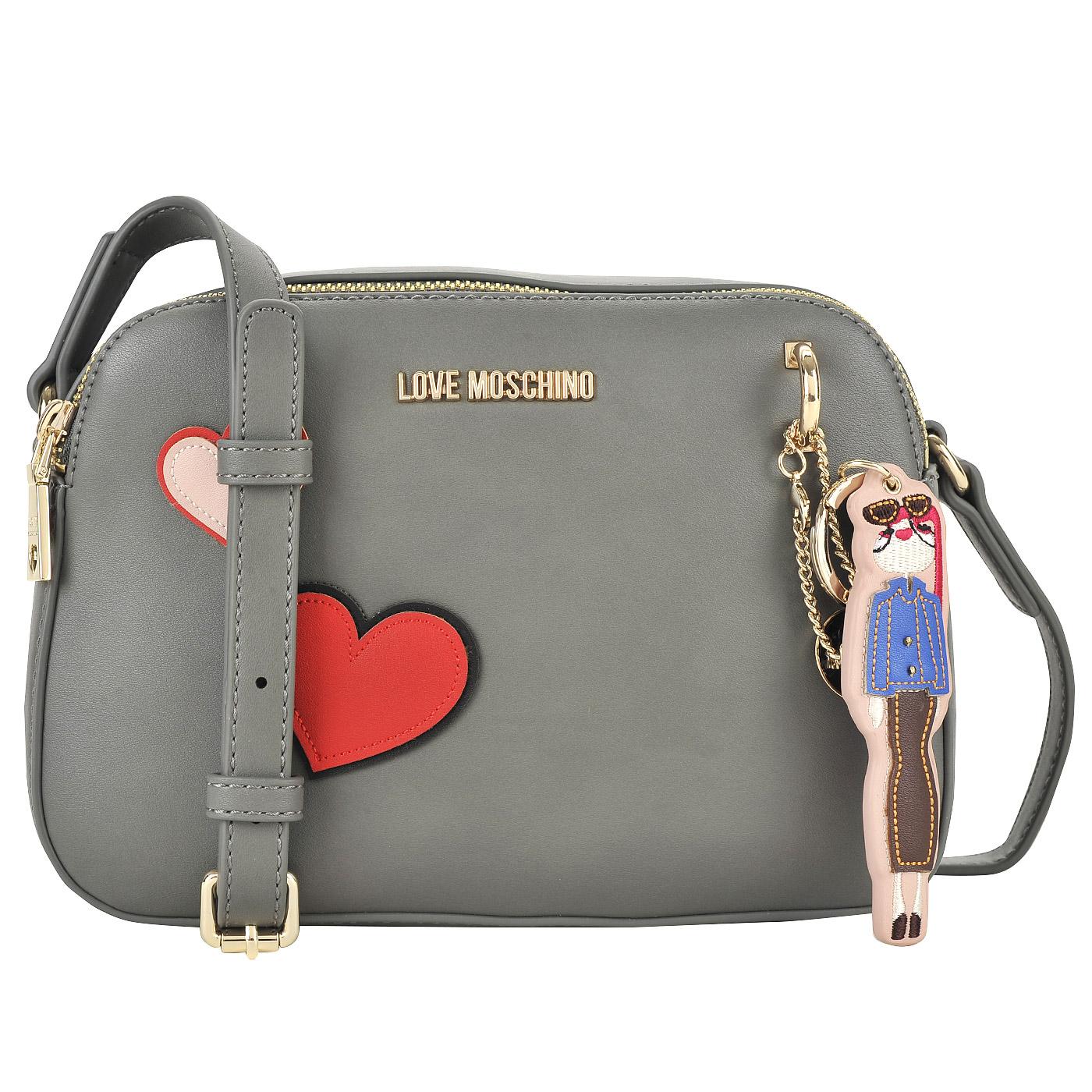 f38c5a67a61c Серая сумка кросс-боди с аппликацией и съемным брелоком Love Moschino Girls  and hearts ...