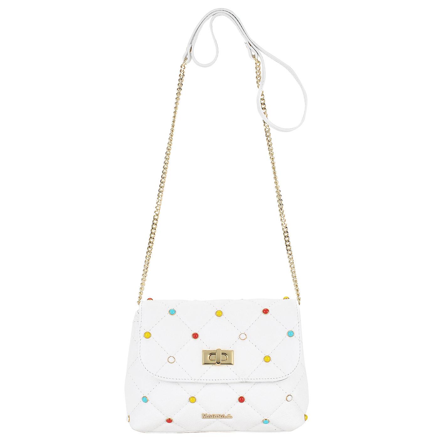 d63bc73c6610 ... Стеганая кожаная сумка с разноцветными клёпками Marina Creazioni ...