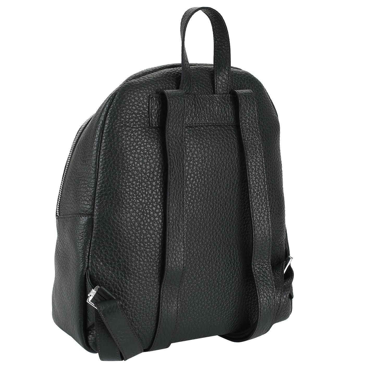 a2d859886667 ... рюкзак идеально впишется в повседневный гардероб любой современной  девушки. Аксессуар выполнен из прочной и влагостойкой натуральной кожи  темно-зеленого ...