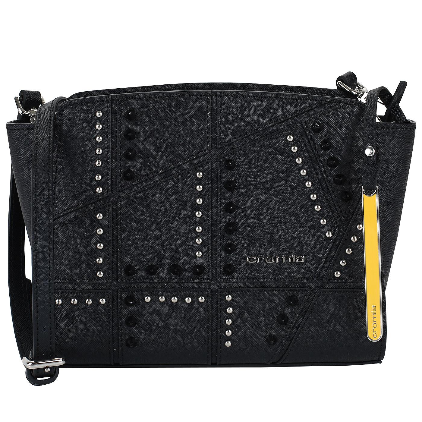 7da72384ab18 Сафьяновая черная сумочка с клепками Cromia Perla Rock 1403615_nero ...