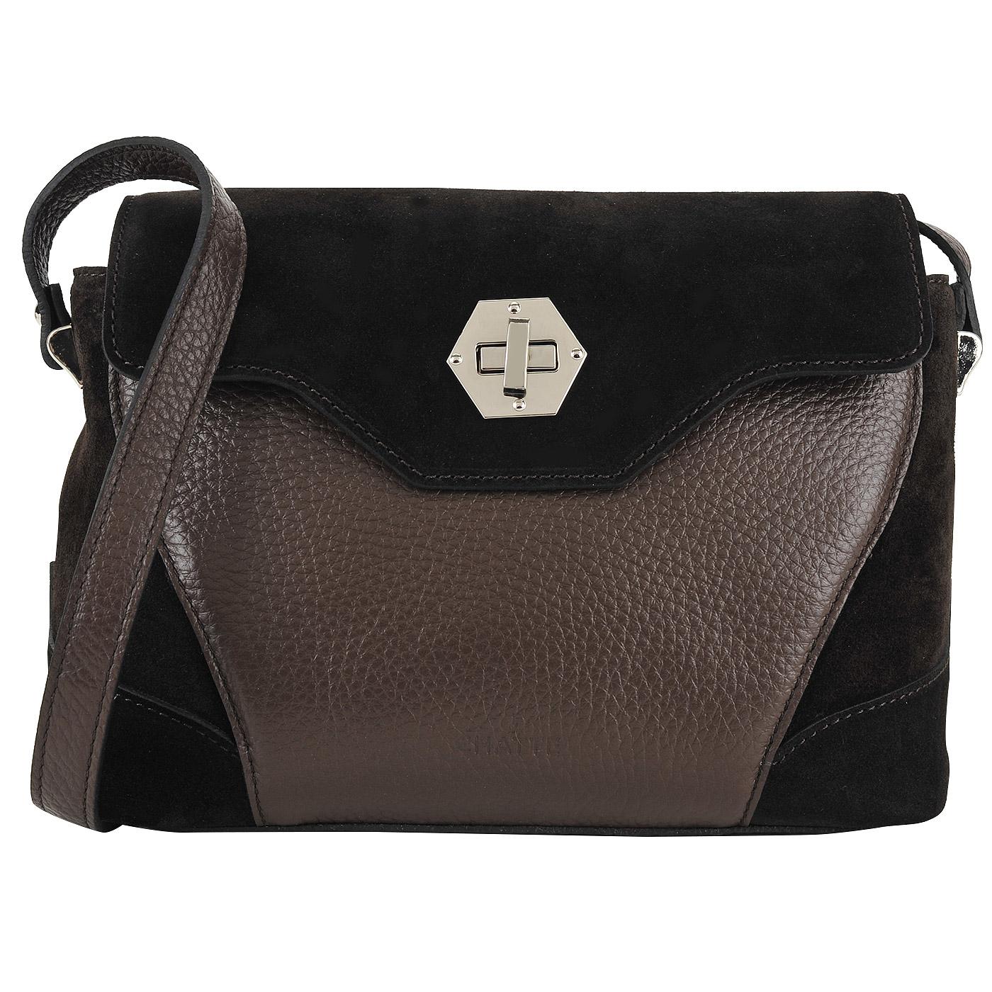 e76aadef5ef1 ... Маленькая женская сумка из натуральной кожи и замши Chatte ...
