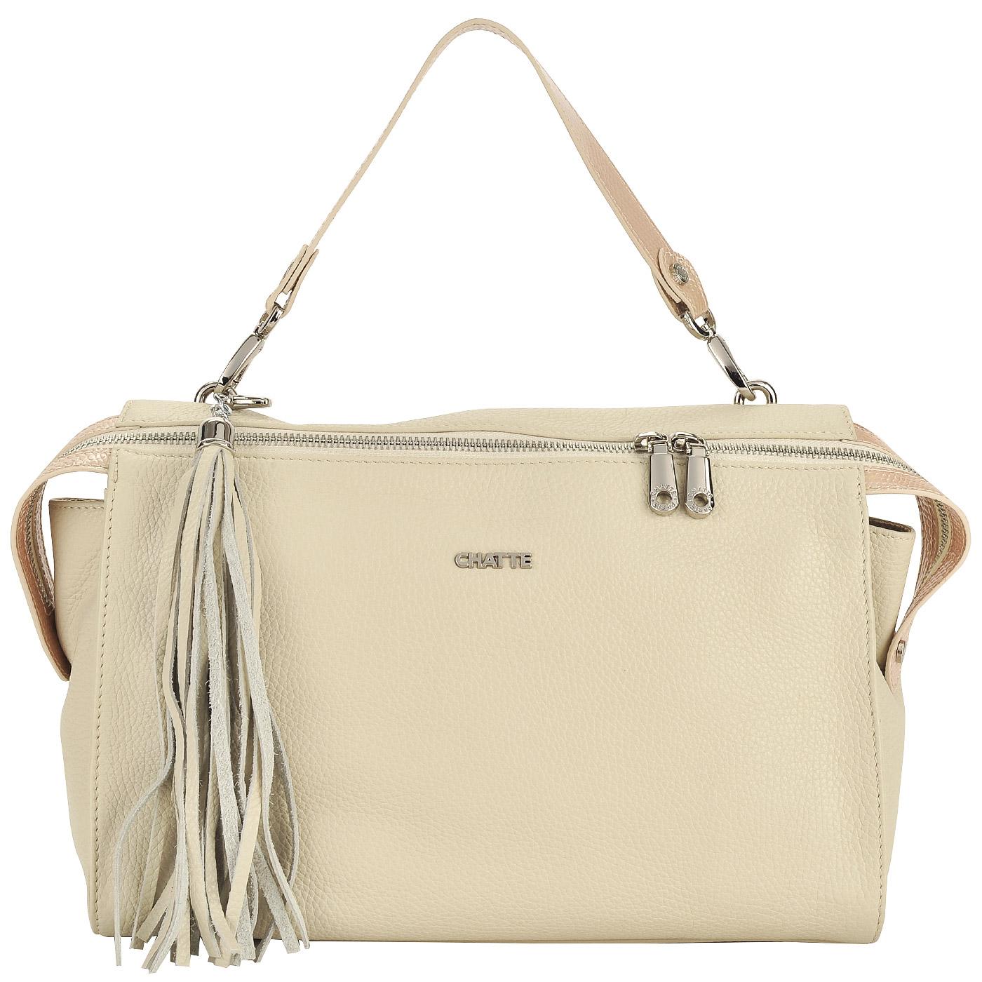 e15b17f9dda3 Вместительная женская сумка из натуральной кожи Chatte FT1411_beige ...