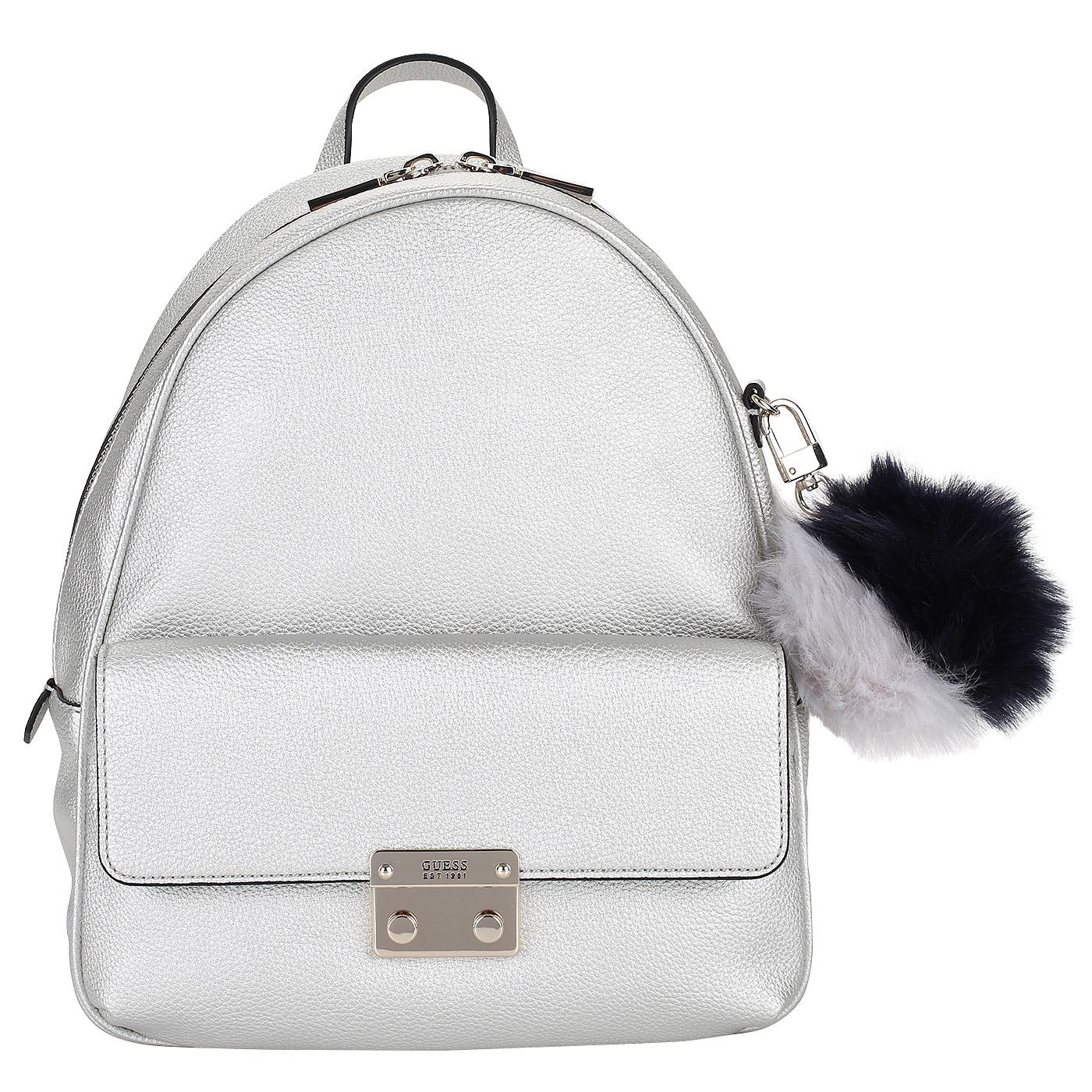 Женский рюкзак с брелоком Guess Varsity Pop HWMG69 67320 silver ... 9772018725c